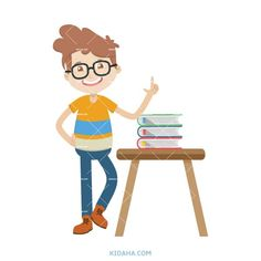 kid student character vector illustration #kid #character #cartoon #kidaha #characterdesign #planner #student #education #vector Kid Character, Character Design, Student Cartoon, Boy Or Girl, Nerd, Things To Come, Clip Art, Education, Learning