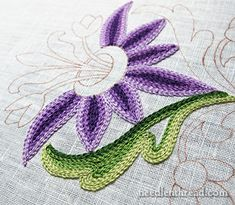 Tambour Embroidery: Learning Odds & Ends Tambour Embroidery: Practice Flower chain stitch to the max by hand or with the tambour tool Tambour Beading, Tambour Embroidery, Hand Embroidery Stitches, Hand Embroidery Designs, Embroidery Techniques, Embroidery Applique, Cross Stitch Embroidery, Embroidery Ideas, Flower Embroidery