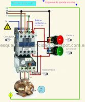 Marcha y parada de motor Electrical Panel Wiring, Electrical Circuit Diagram, Electrical Work, Electrical Projects, Electrical Installation, Electrical Engineering, Electronics Projects, Metal Bending Tools, Electronic Circuit Projects