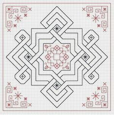 BISCORNU, ALFILETEROS, GUARDATIJERAS, ....A PUNO DE CRUZ (pág. 138) | Aprender manualidades es facilisimo.com Blackwork Cross Stitch, Biscornu Cross Stitch, Cross Stitch Geometric, Blackwork Embroidery, Geometric Art, Cross Stitching, Embroidery Patterns, Blackwork Patterns, Celtic Patterns