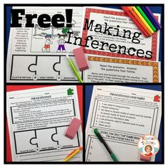 FREE Making Inferences printables for your students in 3rd-5th grade!  Help your students piece inferencing together with this variety of free inferencing activities!  Bonus: These are no prep printables, so you can use them on the fly!
