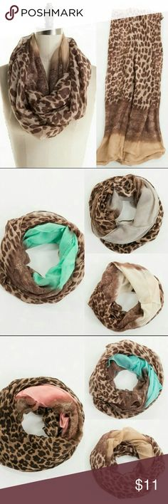 Leopard Infinity Scarf Assorted Colors Leopard Infinity Scarf, assorted colors. 100% polyester.  Made in China. Fashionomics Accessories Scarves & Wraps