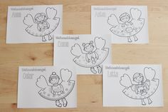 5 Christmas angels made of paper for colouring and cutting out