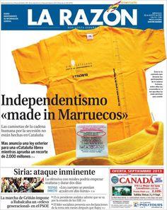 Los Titulares y Portadas de Noticias Destacadas Españolas del 28 de Agosto de 2013 del Diario La Razón ¿Que le pareció esta Portada de este Diario Español?