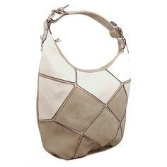 Dámská stylová kabelka na rameno New Berry D1078 béžovo-bílá Patchwork 0329fe1869d