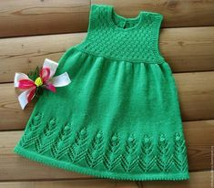 """Knitted summer dress for the girl """"Spring green … - do it yourself Girls Knitted Dress, Knit Baby Dress, Crochet Lace Dress, Knitted Baby Clothes, Crochet Girls, Knitting Baby Girl, Knitting For Kids, Baby Knitting Patterns, Diy Crochet Sweater"""