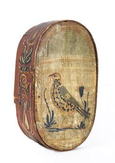 Rare 19th Century Bride's Box w/ cover image of Bird w/ Worm