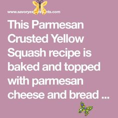 Parmesan Crusted Yellow Squash- A Summer Squash Recipe This Parmesan Crusted Yellow Squash recipe is baked and topped with parmesan cheese and bread crumbs. It'll become your new favorite summer squash recipe side dish! It is sure to be one of the best yellow squash recipes you'll find!<br> Yellow Squash Recipes, Summer Squash Recipes, Parmesan Crusted, Bread Crumbs, Side Dishes, Cheese, Baking, Side Plates, Bakken