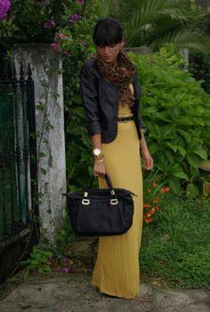 Yellow Maxi Dress & Black Leather Jacket