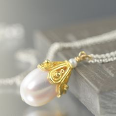 South Paw Studios Handcrafted Designer Jewelry - White freshwater pearl gold filled necklace, June Birthstone