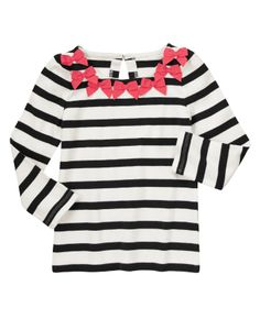 Stripe it up with a cute tee brightened with fancy grosgrain bows at the neck.
