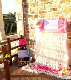 Es muy sencillo: un riel con soporte, una manta blanca ligera y papel de seda rosa.