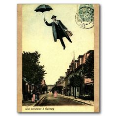 Vintage French Chic Umbrella Flying Man Postcard. Zazzle custom postcards--add your image to a blank postcard or order a pre-existing design, like this one.   ✭~~hh/