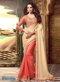 Majestic Peach Coloured Sparkle Georgette Saree