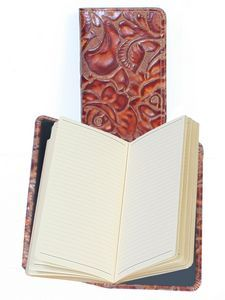 Tooled Leather Pocket Notebook w/ Ruled Pages #tooledleather #leathernotebook #executivegift