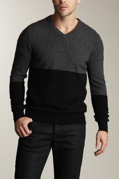 Vince Color-Blocked V-Neck Sweater