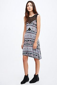 Staring at Stars Mesh Geometric Fit-and-Flare Dress