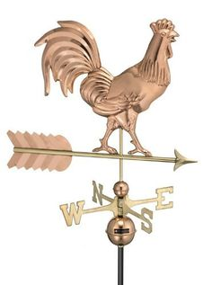 "Smithsonian Rooster Weathervane by GOOD DIRECTIONS. Save 32 Off!. $239.99. Fully functional. Size: 22""H x 26.5""W x 1""D. Brass and copper. Rooster design. Color: Polished Copper. Smithsonian Rooster Weathervane. Smithsonian Rooster Weathervane Add some country charm to your home with this all time classic weathervane - the traditional rooster weathervane. For centuries, weathervanes have been relied upon to indicate wind direction in order to predict weather patterns. Today, although st..."