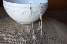 Pink teardrop glass beaded long earrings by AddSomeCharmBoutique, $5.95