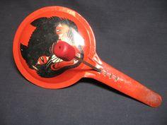 Vintage Halloween Noisemaker ~ T Cohn Scary Black Cat Tin Pan Noisemaker w/ Wood Clackers. Circa, 1940's.