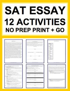 SAT Essay: Common Core Aligned: Complete Guide (12 Activities): MIX AND MATCH FOR 5 MINUTE BELL RINGERS OR FULL LESSONS. SAT essay tutoring materials #SATstudymaterials