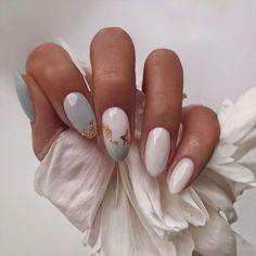Classy Acrylic Nails, Almond Acrylic Nails, Classy Nails, Almond Nail Art, Classy Almond Nails, White Almond Nails, Pastel Nails, Simple Nails, Cute Summer Nail Designs