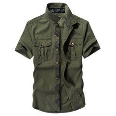 Designer AFSJEEP Outdoor Sport Cotton Breathable Multi Pockets Cargo Short Sleeve Dress Shirts for Men - NewChic Mobile.
