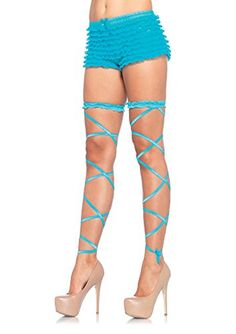 Leg Avenue Women's Leg Wraps, Neon Blue, One Size: Fun leg wraps Perfect to mix and match with multiple colors Moda Funky, Happy Legs, Pin Up Lingerie, Rave Accessories, Blue Garter, Leg Avenue, Patterned Socks, Women Legs, Funky Fashion