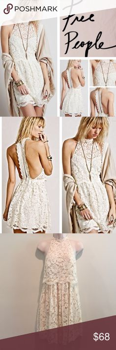 Free People Lost In A Dream Tiered Lace Dress 6 8 Vintage cream lace high-neck halter mini dress with split racerback, ruffled skirt, and sheer flyaway bodice. Single-button closure at nape. Hidden back-zip closure on skirt. Fully lined.  65% Cotton 35% Nylon Free People Dresses Mini