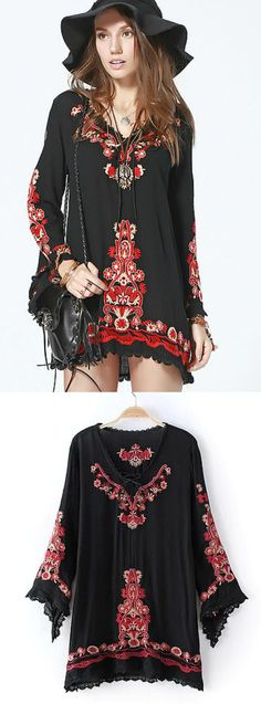 On Sale - $45 A Bohemian Embroidery Dress inspired from the trendy boho chic fashion style. This dress exhibits brilliant colours with unique embroidered pattern. Perfect for a casual night outfit.