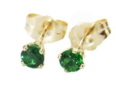 Setting: Metal type: 14K Yellow Gold  Setting type: 4-prongs setting  Weight: 0.61 Grams  Main stones:  Stone Type: Natural Tsavorite  Diameter: 3 mm.  Weight: 0.28 (ct. tw.)  Color: Deep Olive Grass Green  Cut: Excellent  Includes: * Certificate of Authenticity * Exclusive Earring box * Elegant package * Shipping with Registered Mail (insured)  See MORE Gemstone Earrings: https://www.etsy.com/il-en/shop/LianneJewelry?ref=l2-shopheader-name&section_id=1...
