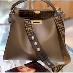 🐨 Fendi Peekaboo XLite with added strap. Fendi Bags, Hermes Handbags, Purses And Handbags, Cheap Handbags, Replica Handbags, Popular Handbags, Ladies Handbags, Cheap Purses, Travel Handbags