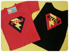Boy's Lightning Bolt Superhero Shirt with Name and by SunbeamRoad, $39.50