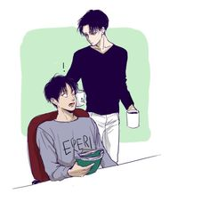 """""""A-ah! Levi, what was that for?!"""" *takes the cup in a hand, rubs cheek pouting with the other* """"It wasn't that hot but it still burned.."""""""