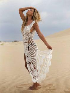 Crochet maxi dress handmade crochet up and down dress beach crochet wedding dress Crochet Beach Dress, Crochet Wedding Dresses, Best Wedding Dresses, Knit Dress, Dress Beach, Crochet Fashion, Handmade Clothes, Crochet Designs, Crochet Clothes