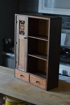 Walnut Tea Cabinet, Medicine Cabinet, Wall Cabinet This is a hand made hand crafted medicine/tea cabinet designed to hang on the wall and is perfect for holding all of your essential oils and toiletries to holding your favorite teas and tea tins for proud Woodworking Inspiration, Furniture Inspiration, Primitive Furniture, Woodworking Furniture, Furniture Projects, Wood Furniture, Mission Furniture, Cabinet Furniture, Kitchen Cupboard Storage
