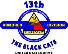 """13th Armored Division """"The Black Cats"""" United States Army Shirt.  World War II  Mediterranean & European Campaigns: Rhineland * Central Europe.  (August 1945 Location:Camp Cooke, California.)  (Killed In Action:214)  (Wounded In Action:912)  (Died Of Wounds:39)"""