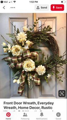 Front Door Wreath Everyday Wreath Home Decor Rustic Wreath Fall Wreath Farmhouse Wreath Grapevine Wreath Autumn Wreath by LiBowDesigns on Etsy Easy Fall Wreaths, Diy Fall Wreath, Holiday Wreaths, Wreath Ideas, Winter Wreaths, Rustic Wreaths, Autumn Wreaths For Front Door, Mesh Wreaths, Double Door Wreaths