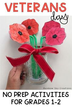 Check out these Veterans Day activities to teach kids about the significance of this day. Teach them to commemorate with poppy crafts and other learning & reflective printables and worksheets {Grade 1, Grade 2, first grade, second grade, homeschool} #veteransday #rainbowskycreations Remembrance Day Activities, Veterans Day Activities, Australia Crafts, Australia Day, Valentines Day Party, Valentine Crafts, Veterans Day Poppy, Creation Activities, Valentine's Day Party Games