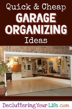 Garage Organization On a Budget - How To Organize the Garage on a budget - cheap and DIY organization hacks to declutter and organize the garage Small Garage Organization, Garage Storage Solutions, Diy Garage Storage, Organizing Ideas, Organization Hacks, Organizing Clutter, Organized Garage, Organizing Life, Staying Organized