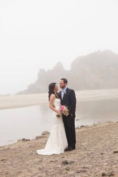 foggy beach wedding in big sur