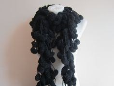 Black Mulberry Scarf, Christmas Gift, Crochet Pom pom Scarf, Soft Pompom Neck Accessories, Cocoon N Neck Accessories, Winter Accessories, Crochet Gifts, Hand Crochet, Pompom Scarf, Long Scarf, Neck Warmer, Gifts For Mom
