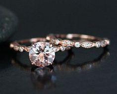 http://rubies.work/0489-sapphire-ring/ Morganite Wedding Ring Set in 14k Rose Gold by Twoperidotbirds / http://www.deerpearlflowers.com/rose-gold-engagement-rings/ anillos de compromiso | alianzas de boda | anillos de compromiso baratos http://amzn.to/297uk4t
