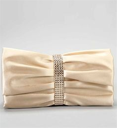 Gorgeous Cream Satin Looking Clutch With Rhinestones Around The Middle Show Off At