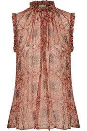 5c5a1b044557bb Zimmermann Empire ruffle-trimmed metallic printed silk-blend top Feminine  Dress