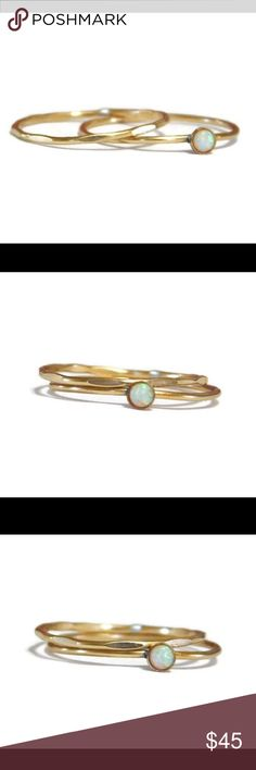 Fire opal ring set A set of two stacking/stackable rings made of 14k yellow gold filled. One ring is faceted, the other has a genuine 3mm white fire opal cabochon which is bezel set. These are available in any size 2-13. nejd Jewelry Rings