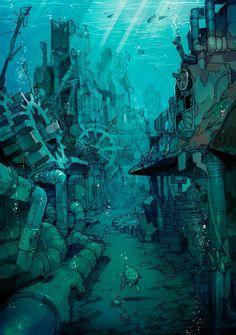52 Ideas For Steampunk Concept Art Scenery Fantasy Anime, Fantasy Kunst, Fantasy Art, Underwater City, Underwater Drawing, Fantasy Places, Fantasy Landscape, Landscape Art, Landscape Concept