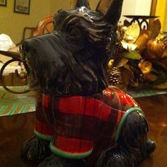 $55 - Christmas Scottie Dog Cookie Jar | eBay