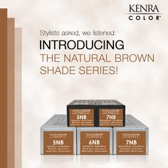 Stylists, the NEW Kenra Color Natural Brown Shades Series is designed to cover and blend gray with warm reflective brown and beige tones. The Permanent Natural Browns (5NB, 6NB, 7NB) provide full gray coverage. The Demi-permanent Natural Browns (5NB, 7NB) provide up to 75% gray coverage.