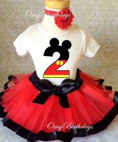 Red Black Mickey Mouse 2nd Second Birthday Shirt Tutu Outfit Set Party girl | eBay